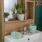 location à Claouey, salle de bain de la cabane de Lautrec
