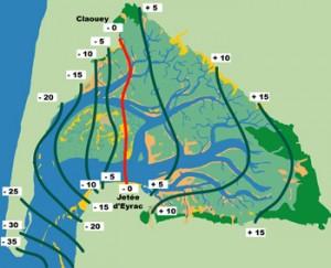 La carte des marées dans le Bassin d'Arcachon